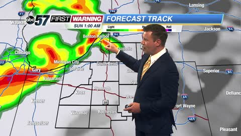 Stormy Saturday night, severe weather possible.