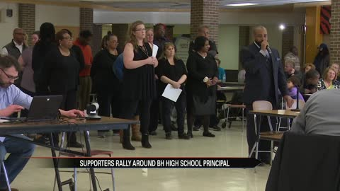 Benton Harbor High School teachers speak out in support of principal