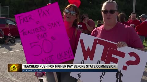 Michiana teachers make their case for better pay before commissioners