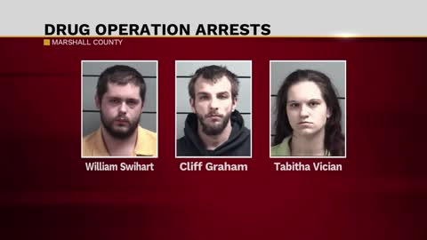 Three arrested after police search in Marshall County