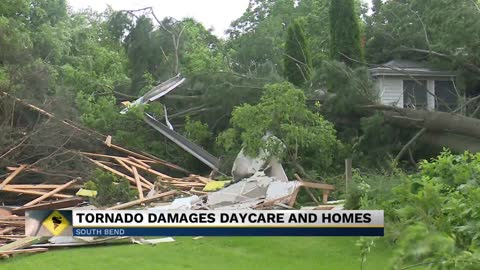 Tornado damages daycare and homes