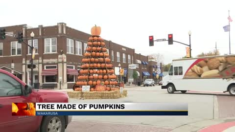 Tree in Wakarusa is made entirely of pumpkins