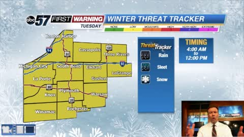 Big cool-down, wintry mix Tuesday