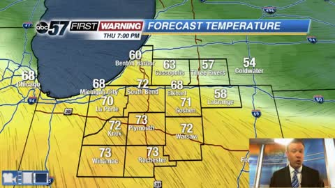 Thursday temperatures surge to 70 ahead of storms