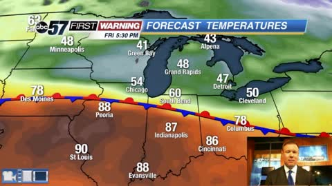 Big boundary keeps Michiana cool and rainy
