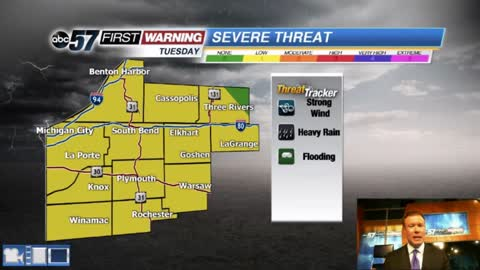 Storms return Tuesday, possible severe threat