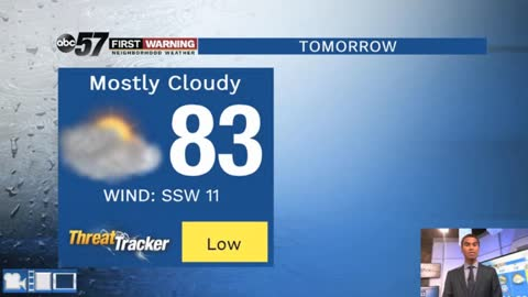 Calm overnight with a few rain showers tomorrow