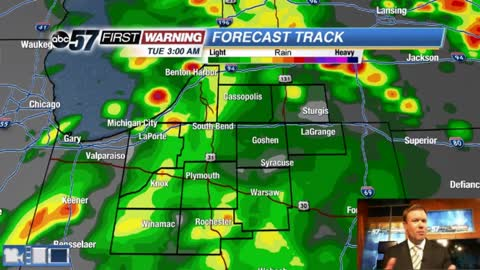 Showers and storms last through Tuesday morning