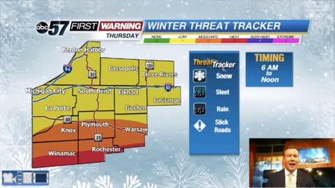 A messy mix of wintry weather Thursday morning