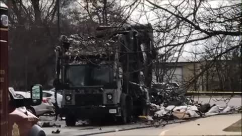 Garbage truck explodes in parking lot of elementary school