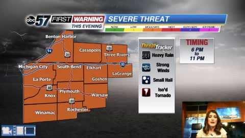 Scattered storms - threat of severe weather late