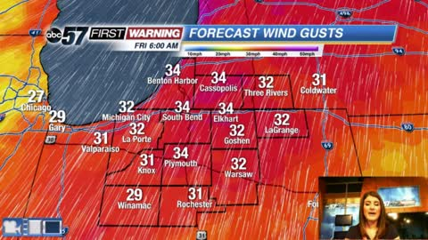 Windy, falling temperatures and rain chances