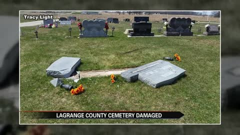 Vehicle leaves behind broken headstones in a LaGrange cemetery