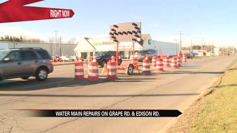 Water main repairs to affect traffic at Grape & Edison