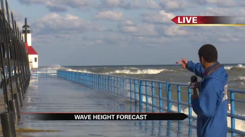 High waves continue for the lake shore today