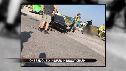 Woman remains in hospital after buggy and semi collide