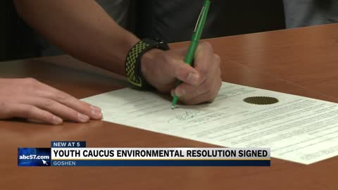 Youth Caucus in Goshen signs environmental resolution