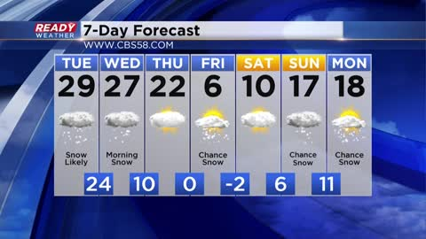 Tuesday Morning Update:  Major snow coming & then more cold