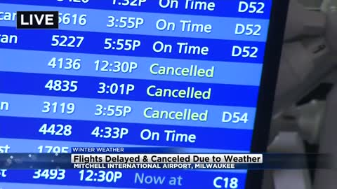 Cancellations, delays at Mitchell Airport due to snow