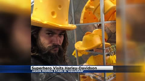 Superhero Jason Momoa visits Harley Davidson Museum and Factory