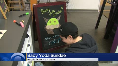 'Baby Yoda' sundae craze takes over Purple Door Ice Cream...