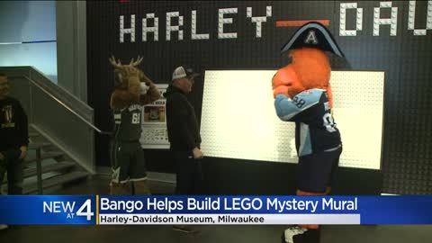 Bucks mascot Bango helps build Lego mural at Harley-Davidson Museum