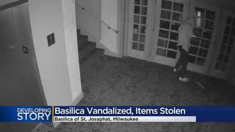 Suspect breaks stained glass window at Basilica of St. Josaphat, steals several items inside