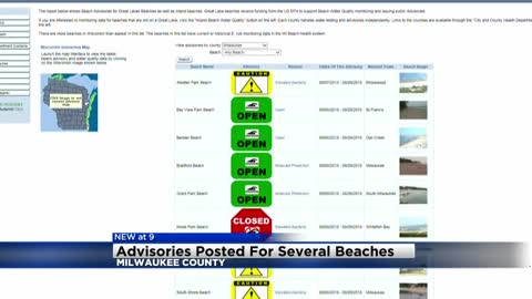 Advisories posted for several beaches in Milwaukee County