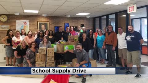 Blue overpowers red in a Racine Co. school supply drive