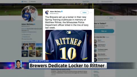Milwaukee Brewers set up locker in memory of fallen officer Matthew Rittner