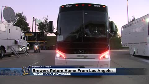 Brewers return home from Los Angeles
