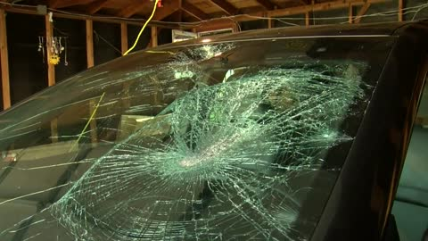 Surveillance catches suspects smashing windshield with rocks