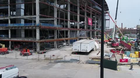 Construction on new Milwaukee Bucks arena is almost halfway finished