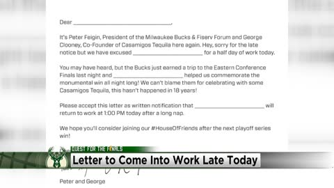 """Take a half day Milwaukee:"" Bucks release late slip for fans following series win"