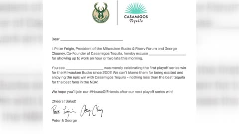"Bucks offer ""excused absence"" letter for fans following playoff..."