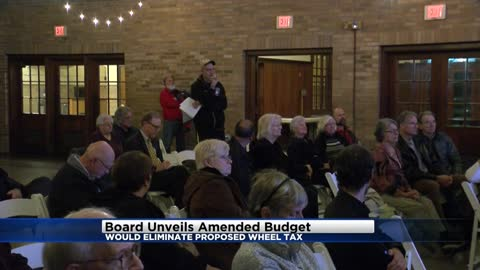 Board unveils amended budget, would eliminate proposed wheel tax