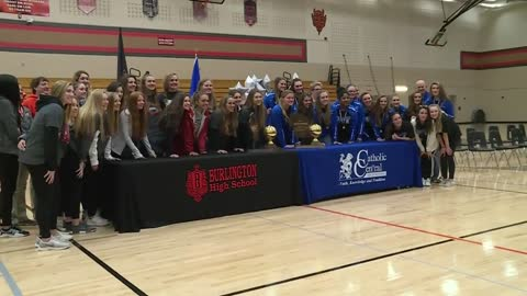 City of Burlington celebrates volleyball championship wins for two local high schools