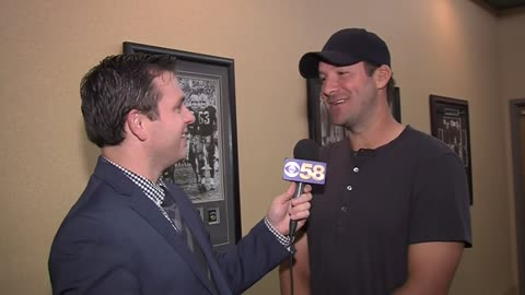 CBS 58 talks to Tony Romo before Thursday night's rivalry game