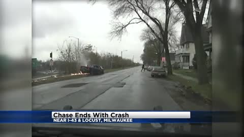Dash cam video: Chase ends with fiery crash near I-43 & Locust