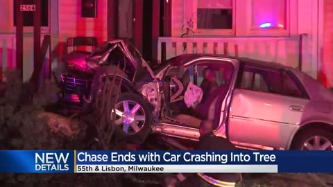 Driver crashes into tree near 55th and Lisbon after leading officers...