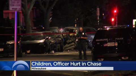 Two children, Milwaukee Police officer injured following chase and crash