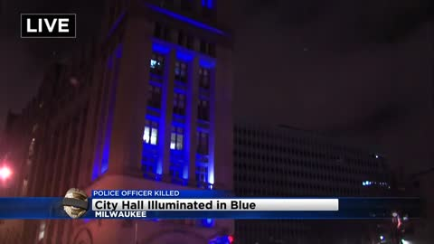 City Hall lit blue to honor fallen officer Matthew Rittner