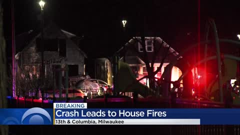 Homes catch on fire near 13th and Columbia following car crash