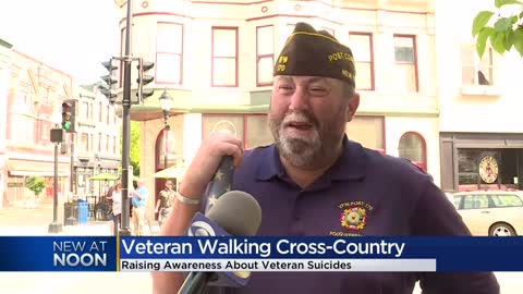 Veteran walking across the country to bring awareness to veteran...