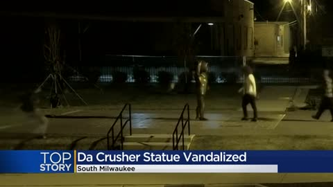 Crusher statue vandalized, South Milwaukee police make arrest
