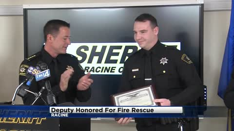 Racine County Deputy honored for saving man trapped in burning...