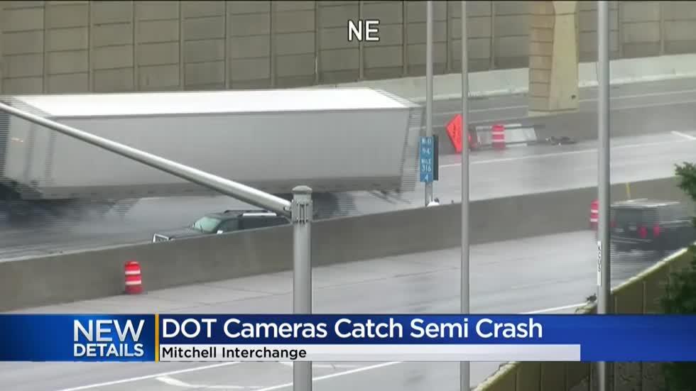 DOT cameras show semi crash involving tow truck at Mitchell