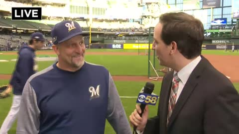 One-on-one with Brewers third base coach Ed Sedar before NLCS Game 7