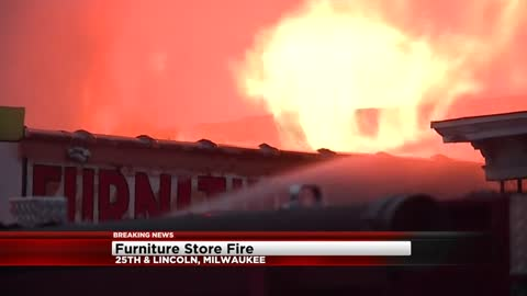 Three-alarm fire at furniture store near 25th and Lincoln in Milwaukee