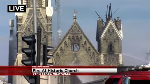UPDATE: Crews battle four-alarm fire at Trinity Evangelical Lutheran Church near 9th and Highland